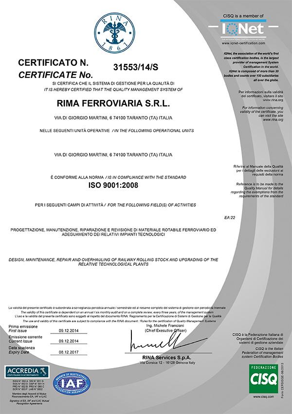 Certificato-RIMA-Ferroviaria